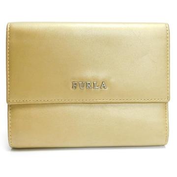 FURLAフルラ 三つ折り財布 レザー ゴールド 良品 正規品