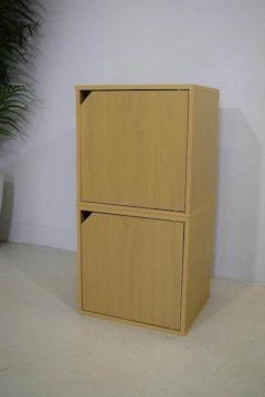新品☆扉付ボックス収納2個セット組み立て済み☆n122
