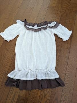 半袖 Tシャツ フリル付 ハニーズ Mサイズ 白?茶色