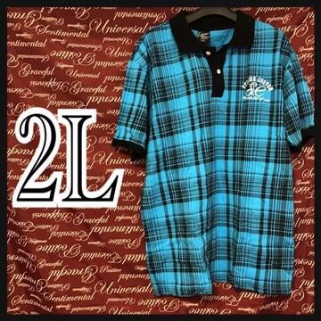 2L・ワンポイント刺繍.チェックポロ 新品青/MCK26-ne1