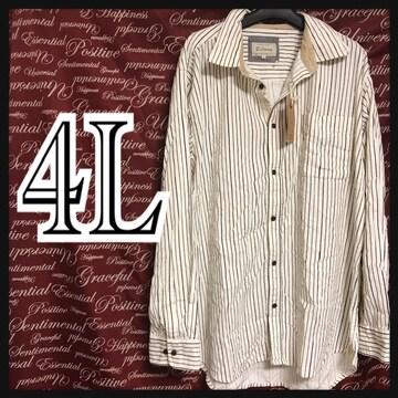 4L・コーデュロイストライプシャツ 新品白/MC01P310-005