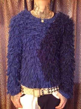 即決DEADブルー×ブラックバイカラーシャギーセーター!ゴシックパンクロックスマックエンジニア