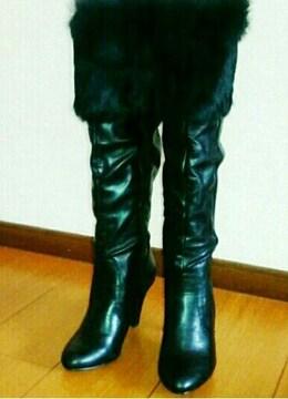 新品 ジャンク 12390円 ファー ロング ブーツ 23cm 黒 ブラック