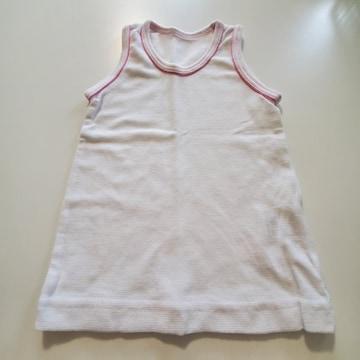 白無地えりピンクライン袖なしシャツ80