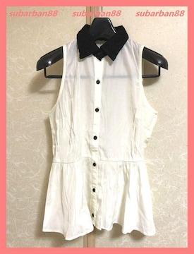 ☆リエンダ☆美品☆レース襟フリルノースリーブシャツS☆