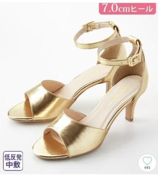 L 3E★7cmヒール★アンクルストラップサンダル★ゴールド★
