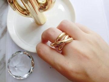 8☆即日発送☆ゴールド クロスリング☆指輪 フリーサイズ