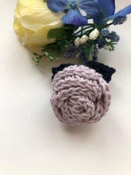 ハンドメイド ブローチ ヘアゴム 巻き巻き薔薇 コットン 紫