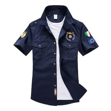 MA1シャツ メンズ 半袖 MA-1 ワッペン ミリタリーシャツ 綿