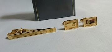 正規美 ダンヒルdunhill dロゴメッシュラインネクタイピン カフス セット 金 ボタン