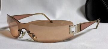 正規 BVLGARIブルガリ セルフレーム メタル×立体クリア装飾スポーティーサングラス 赤系