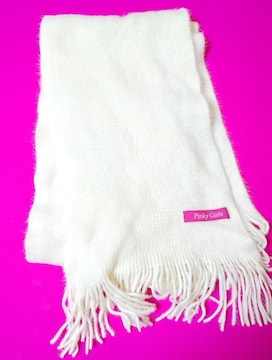 Pinkygirl★マフラー★オフホワイト★中古品