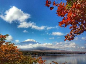 世界遺産 富士山 写真 紅葉と富士山 A4又は2L版 額付き