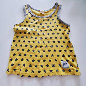 黄色に星柄、袖なしTシャツ(ふちグレー)110
