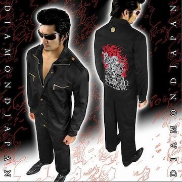 上着単品/和柄不動明王刺繍作業着■オラオラ系ヤクザヤンキーメンズ服72黒-M