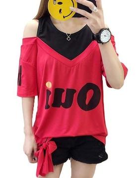 オフショルダー ゆったりTシャツ(2XL寸・赤)