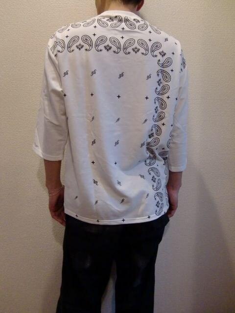 送料無料☆juniorsweetペイズリー柄七分袖ビッグTシャツ☆M < 男性ファッションの