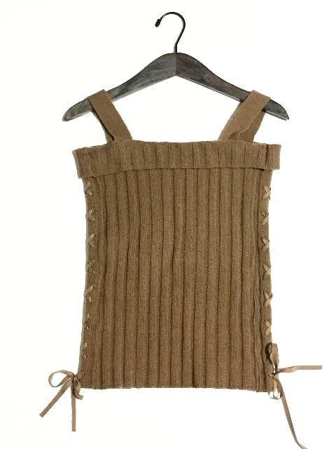 新品〈KIRKE〉編み上げリボンサマーニット(Mサイズ)BR  < 女性ファッションの