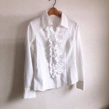 ◆新品!!フリルブラウス◆フリル付きワイシャツ★ホワイト11R*ビジネスコーデ♪