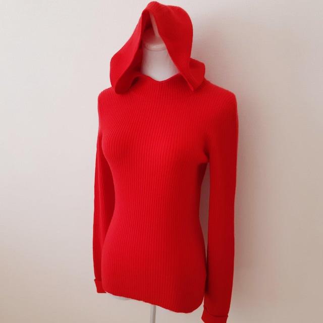 ◆美品◆TSE◆セイ◆カシミヤ◆リブニット◆赤◆パーカー◆S◆  < 女性ファッションの