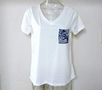 神戸レタス★ペイズリー柄ポケット Vネック Tシャツ