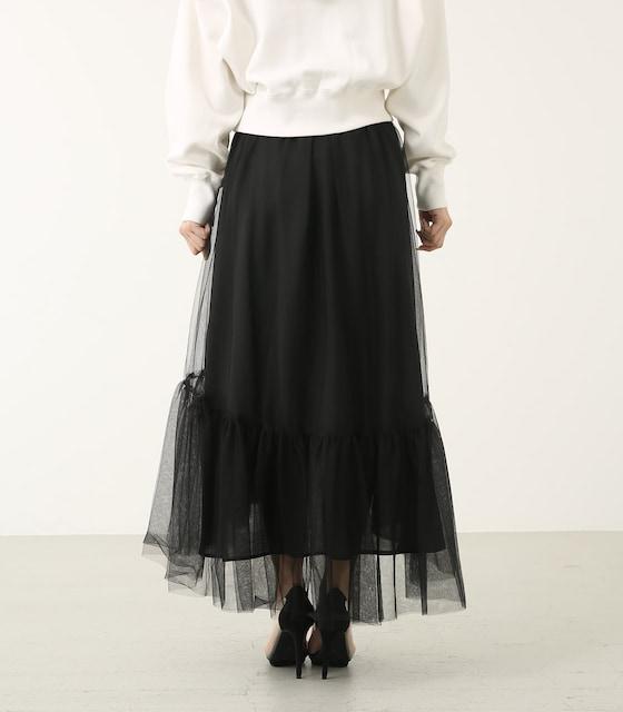 rienda黒ボリュームチュールJ/WマキシスカートSリエンダエロカワロングスカート < ブランドの