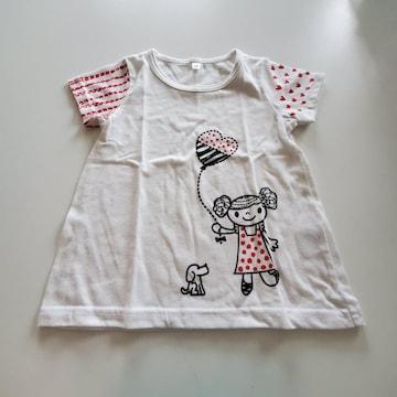 白無地に女の子柄袖にもよう半袖Tシャツ95