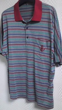 マリン柄ボーダー半袖ポロシャツ
