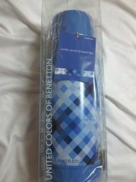BENETTON ベネトン ステンレス 携帯 魔法瓶 水筒 ボトル ブルー チェック コップ