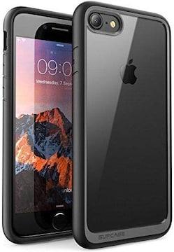 iPhone8/iPhone7 ケース 背面クリア 耐衝撃 黒