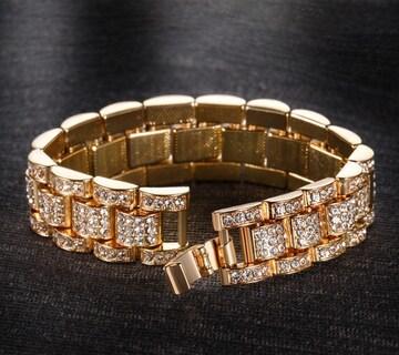 18kイエローゴールドgpダイヤモンドczブレスレットバングル