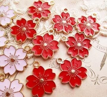 桜カラーチャーム6個赤