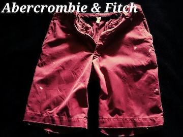 【Abercrombie&Fitch】Vintage Paint デストロイチノショーツ 32/Burgandy