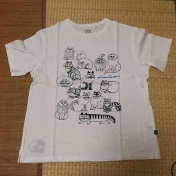 ユニクロ×リサラーソン・猫キャラクター柄Tシャツ。ホワイト