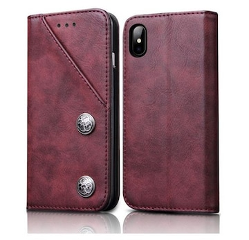 iphone x 手帳型ケース 全面保護 ワインレッド