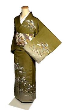 【単衣】【最高級】新品同様 金彩 金駒 1つ紋 訪問着  T2127
