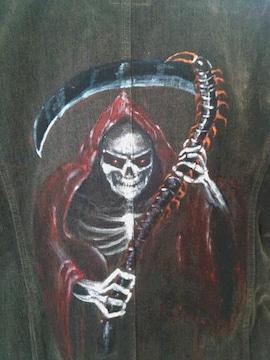 ライダースジャケット    手描きイラスト「死神」