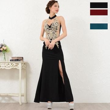 豪華刺繍 セクシースリット フリルロングドレス チャムドレス