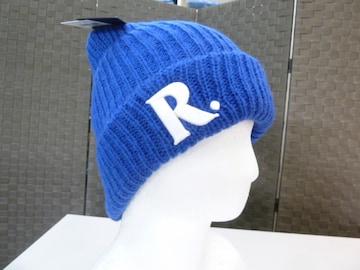 65(青)ラスティー★刺繍付 ビーニー ニット帽 928901 毛混 柔らか伸縮