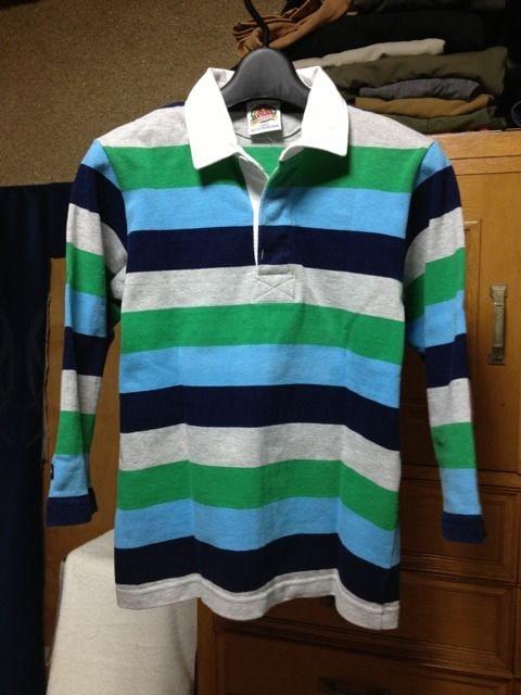 古着 バーバリアン ラガーシャツ 七分袖 カットソー Sサイズ ボーダー 緑 紺 ユーズド  < 男性ファッションの