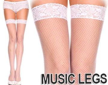 A233)MUSICLEGSレーストップサイハイストッキング白ホワイトタイツダンス衣装ダンサーB系