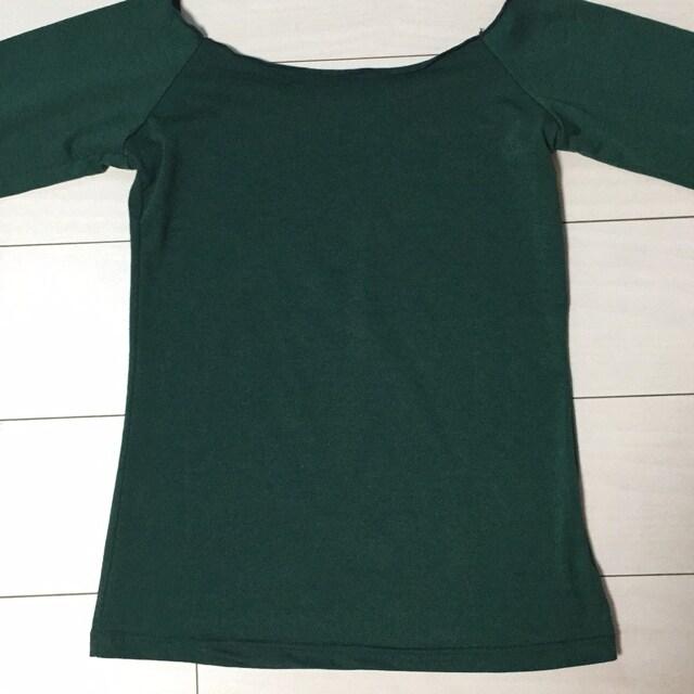 エメラルドグリーン☆無地長袖Tシャツ☆カットソー☆肩開き < 女性ファッションの