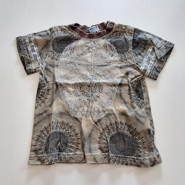 グレーに丸い柄半袖Tシャツ110