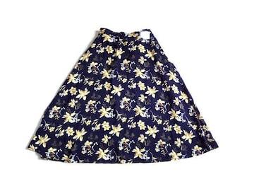 新品 GLACIER グラシア 紺 花柄 ボタニカル フレア スカート