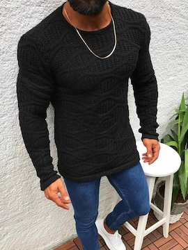 XL ニット調 ロンT 長袖 シャツ 服 メンズ ファッション オラオラ お兄系 ホスト 120黒