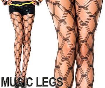 A400)MusicLegsダイヤモンドネットタイツ黒ブラックストッキングB系パーティーダンスダンサー