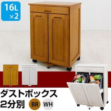 天然木 ダストボックス 2分別 BR/WH