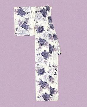 ユカタ浴衣〓白地に暗紫の花〓美品