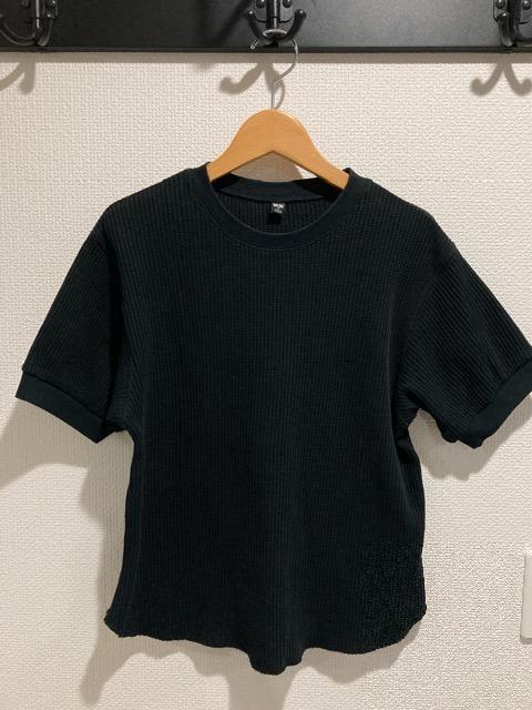 ユニクロ ワッフルクルーネックt レディース 半袖 tシャツ トップス 黒 ブラック M  < ブランドの