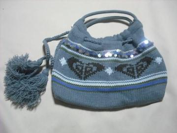 wn113 ROXY ロキシー ニット 巾着タイプ バッグ ブルーカーキ